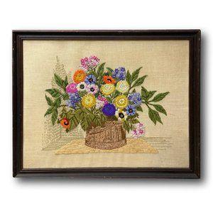 Large Handmade Embroidered Still Life Floral Botanical Textile Art in Crewel